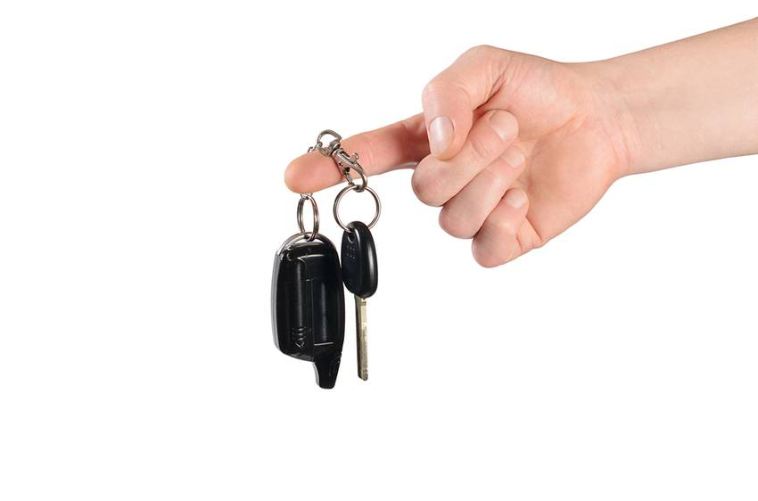 keys from the car in man's hand